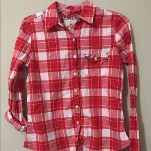 Hollister Red and white plaid junior small